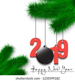 Happy New Year and numbers 2019 and hockey puck as a Christmas decorations hanging on a Christmas tree branch. Design pattern for greeting card. Vector illustration