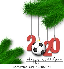 Happy New Year. Numbers 2020 and soccer ball as a Christmas decorations hanging on a Christmas tree branch. Design pattern for greeting card, banner, poster, flyer, invitation. Vector illustration