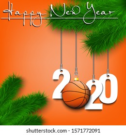 Basketball Christmas 2020 Happy New Year Numbers 2020 Basketball Stock Vector (Royalty Free