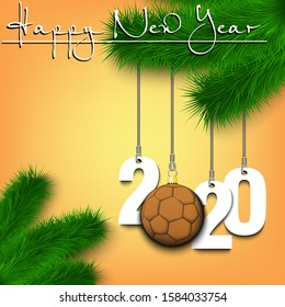Happy New Year. Numbers 2020 and handball ball as a Christmas decorations hanging on a Christmas tree branch. Design pattern for greeting card, banner, poster, flyer, invitation. Vector illustration