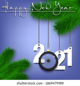 Happy New Year. Numbers 2021 and bicycle wheel as a Christmas decorations hanging on a Christmas tree branch. Design pattern for greeting card, banner, poster, flyer, invitation. Vector illustration