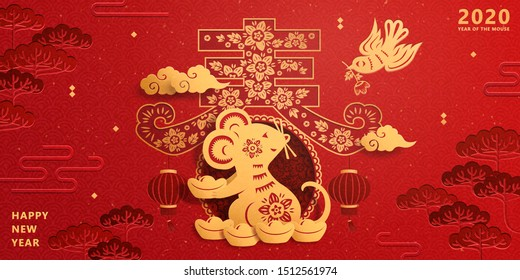 Happy new year paper art rat holding gold ingot on red background, spring written in Chinese word