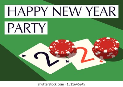 Happy New Year party 2020 casino poker chips and playing cards isometric banner. Greeting card isometry playing cards & chips flyer. 2020 Happy New year banner. Casino isometric Merry Christmas party