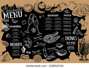Happy New Year party. Christmas menu template. Hand drawn illustration