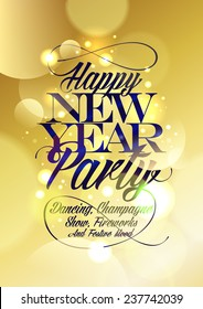 Happy new Year party design gold bokeh.
