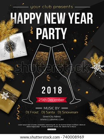 happy new year party flyer template with glasses of champagne vector illustration