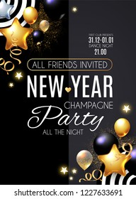 Happy New Year Party Poster Template. Realistic Glossy Balls. Vector illustration