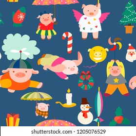 Happy New Year pattern with pigs. Cute cartoon texture with little pigs and Christmas tree, balls, kindles.