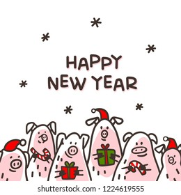 Happy new year Pig greeting card. Funny pigs with candy canes, gifts and santa hats. 2019 Chinese New Year symbol. Doodle style characters for greeting cards, print, icon, sticker. Vector illustration