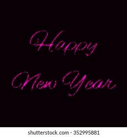 Happy New Year of pink lights on dark background