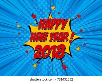 Happy New Year pop art comic background lightning blast halftone dots. Cartoon Vector Illustration on blue