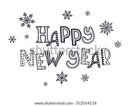 happy new year postcard template winter holiday lettering with snowflakes isolated on white background