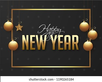 Happy New Year poster or banner design for celebration concept.