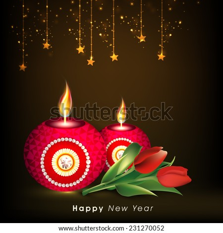 happy new year poster banner or flyer with beautiful illuminated oil lit lamps rose
