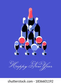 Happy New Year, poster or card. Champagne and wine bottle and glasses arranged in the shape of a Christmas tree. Set of items, top view, isolated, blue background, text. Vector illustration