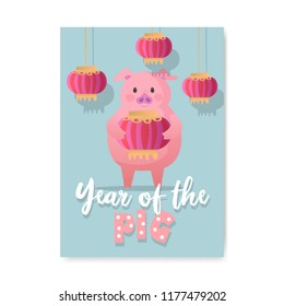 Happy New Year Poster. Cute Pig Symbol of 2019 Year. Greeting Card Banner, Invitation, Placard Template. Vector illustration