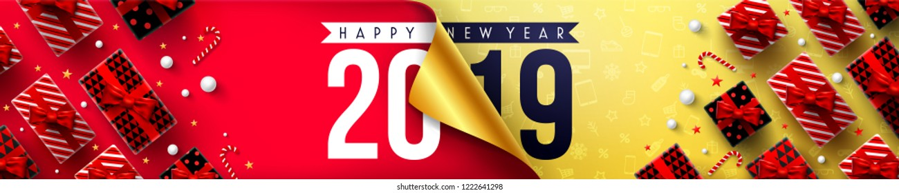 Happy New Year Promotion Poster or banner with open gift wrap paper and gift box.Change or open to new year 2019 concept.Promotion and shopping template for New Year.Vector illustration EPS10