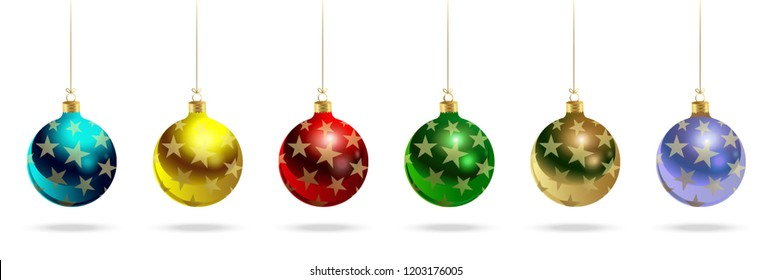 Happy New Year! Realistic Christmas glass balls with a pattern of gold stars. Set of vector decorative objects.