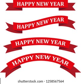 happy new year red ribbon vector illustration