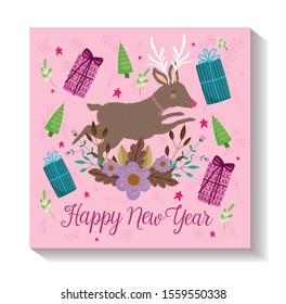 happy new year reindeer trees and gifts flower decoration poster vector illustration