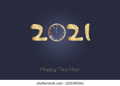 Happy New Year. Retro clock with numbers in golden colors. Watercolor style.