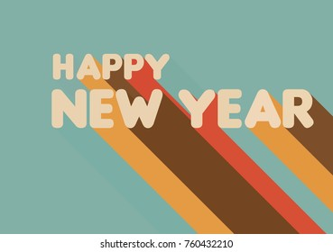 Happy New Year - retro inscription with the effect of color shadow in the vector.
