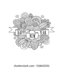 Happy New Year ribbon banner with the words happy new year, doodles, swirls and sparklers on a white background, vector illustration.