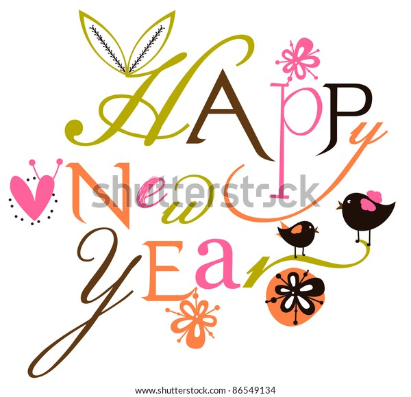 Happy New Year Script Card Stock Vector (Royalty Free) 86549134