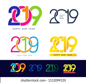 Happy New Year. Set of 2019 colorful text design pattern. Vector illustration. Isolated on white background