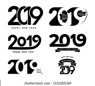 Happy New Year. Set of 2019 black number text design typography pattern. Design for greeting poster and cards, calendars, site, business card, covers. Vector illustration. Isolated on white background