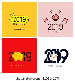 Happy New Year. Set of cute funny pig. Chinese symbol of the 2019 year. Excellent festive gift card for your design. Vector illustration. Isolated on white background