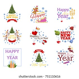 Happy New Year. Set of decorative design elements for greeting cards, invitations and other items.