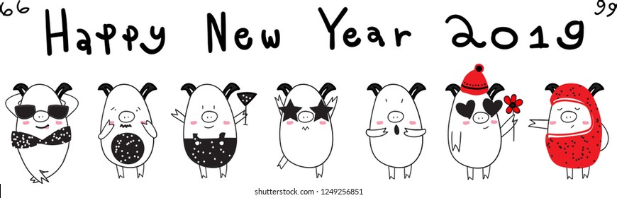 Happy New Year set pigs 2019 cute drawing black and white emotion dot Christmas