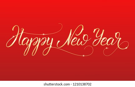 Happy New Year. Shiny gold lettering calligraphy for Winter holidays.
