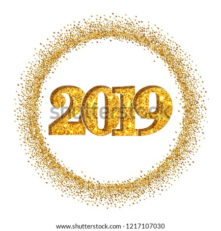 happy new year shiny gold number in circle frame golden glitter border isolated on white