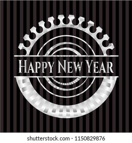 Happy New Year silver badge or emblem