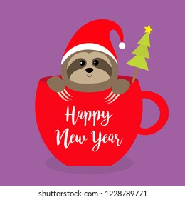 Happy New Year. Sloth sitting in red coffee cup teacup. Santa hat. Fir tree. Face and hands. Cute cartoon baby character. Merry Christmas. Hello winter. Slow down Violet. background Flat design Vector