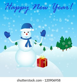 Happy New Year with snowman and gift.