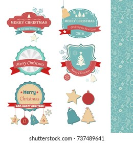 Happy New Year stickers set of different shapes with red ribbons and Christmas elements isolated vector illustration