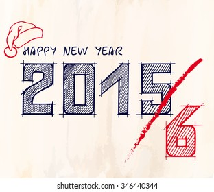 Happy new year strike through white and red text design with santa hat, in hand drawn style on vintage paper background