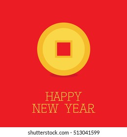 Happy New Year symbol. Feng shui Chinese coin with hole. China gold money. Flat design. Red background. Vector illustration