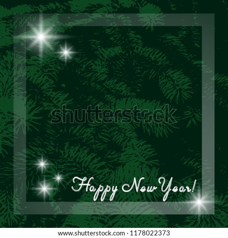 happy new year template for card or invitation modern green background with a branch