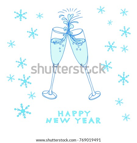 happy new year template with glasses of wine couple of champagne glasses with snowflakes for