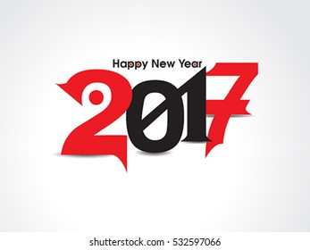 happy new year text background with red & black color vector illustration