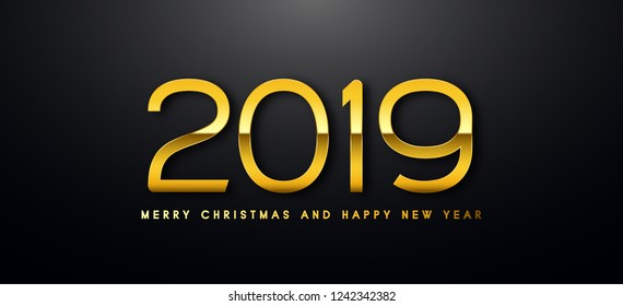 Happy New Year text design. Vector greeting illustration with golden numbers.