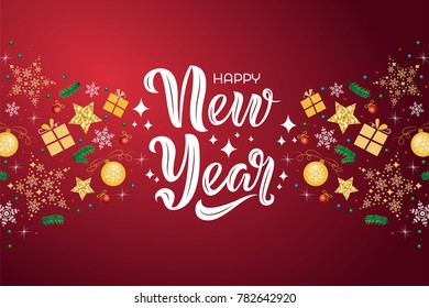 happy new year text design with decorative elements on red background vector illustration new