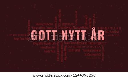 Happy New Year Text In Swedish U0027Gott Nytt Aru0027 With Word Cloud In Many