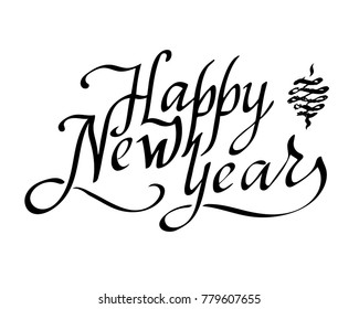 Happy new year text vector on white background. Lettering for invitation, wedding and greeting card, prints and posters. Hand drawn inscription