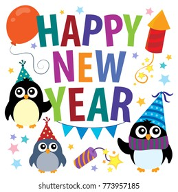 Happy New Year theme with penguins - eps10 vector illustration.