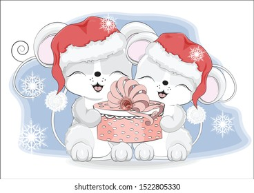 Happy new year two little mouses, in Santa cap, with a gift in hands, in environment of snowflakes  Picture in hand drawing style. Mouse, rat, symbol of New year 2020. Merry Christmas, holiday card.